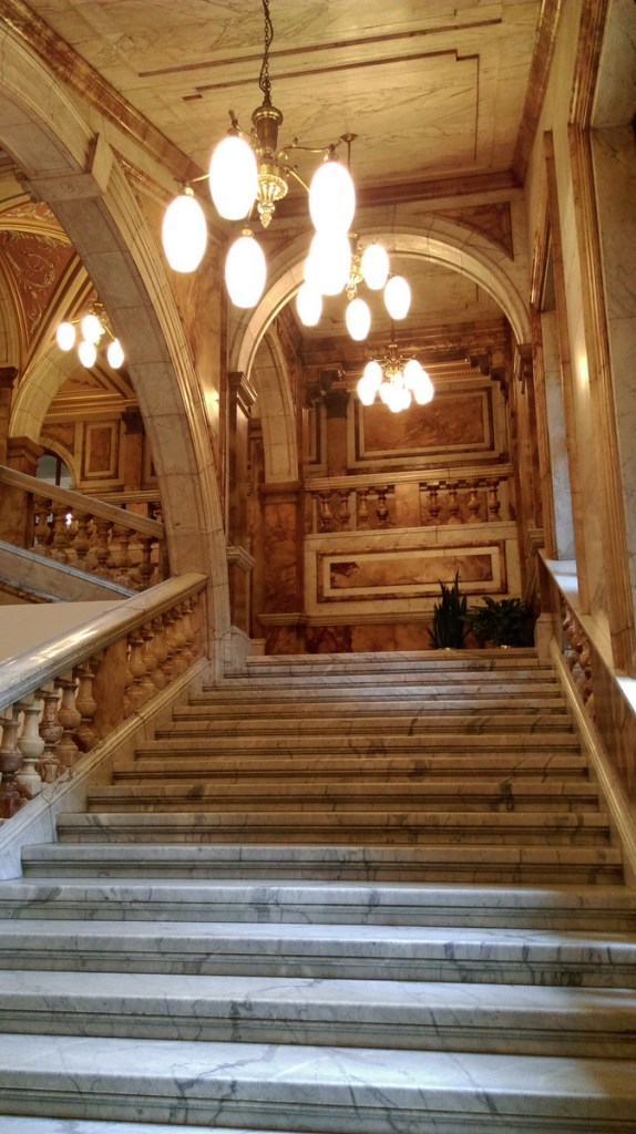 Glasgow City Chambers Marble Stairs in the Civic area of the building; from a travel blog by www.traveljunkiegirl.com