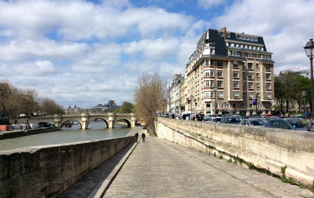 Ramp to river level on the Île de la Cité, Paris; from a travel blog by www.traveljunkiegirl.com