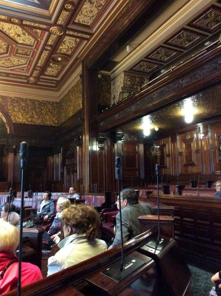 Interior of the council chamber at Glasgow's City Chambers building; from a travel blog by www.traveljunkiegirl.com