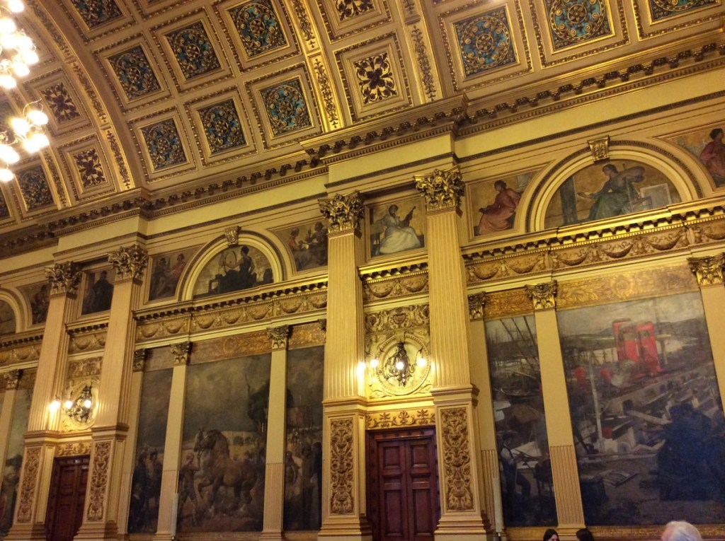 Murals line the walls of the Banqueting Hall in Glasgow's City Chambers, painted by the Glasgow Boys; from a travel blog by www.traveljunkiegirl.com