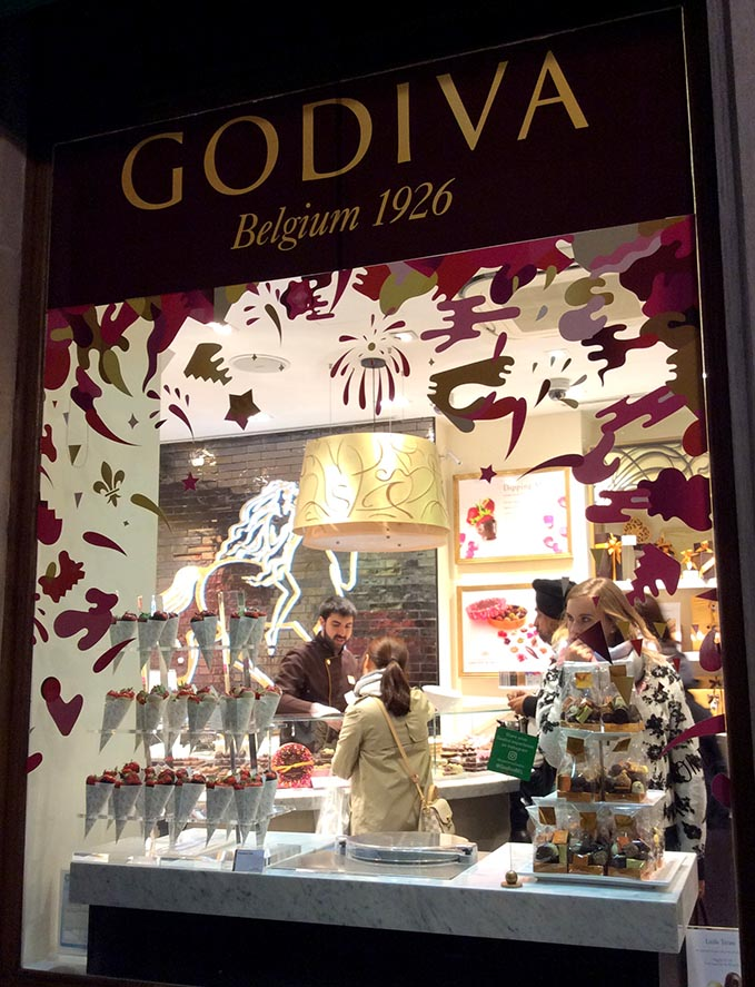 The Godiva store on the Grand Place, Brussels; from a travel blog by www.traveljunkiegirl.com