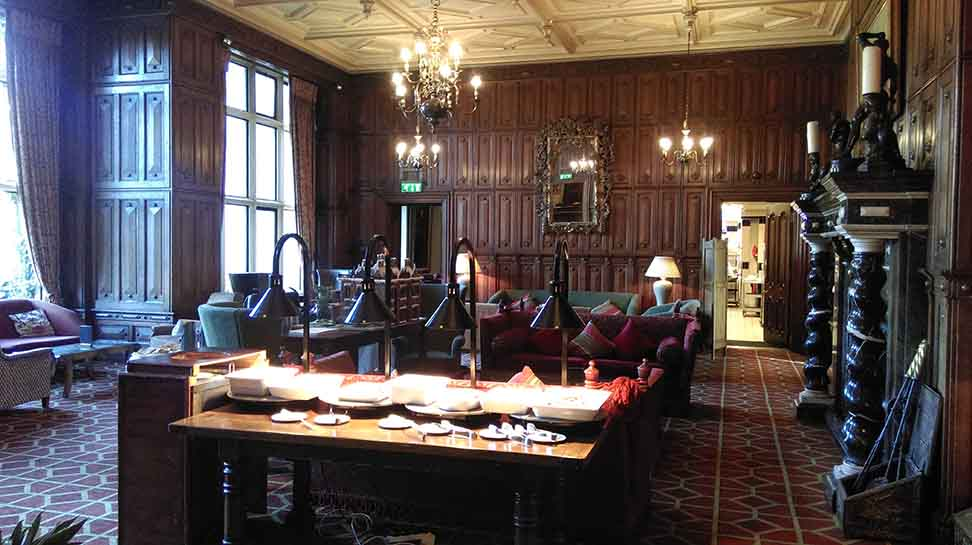 The Breakfast Buffet is set up in the Main Lounge at the Welcombe Hotel, Warwickshire; from a travel blog by www.traveljunkiegirl.com