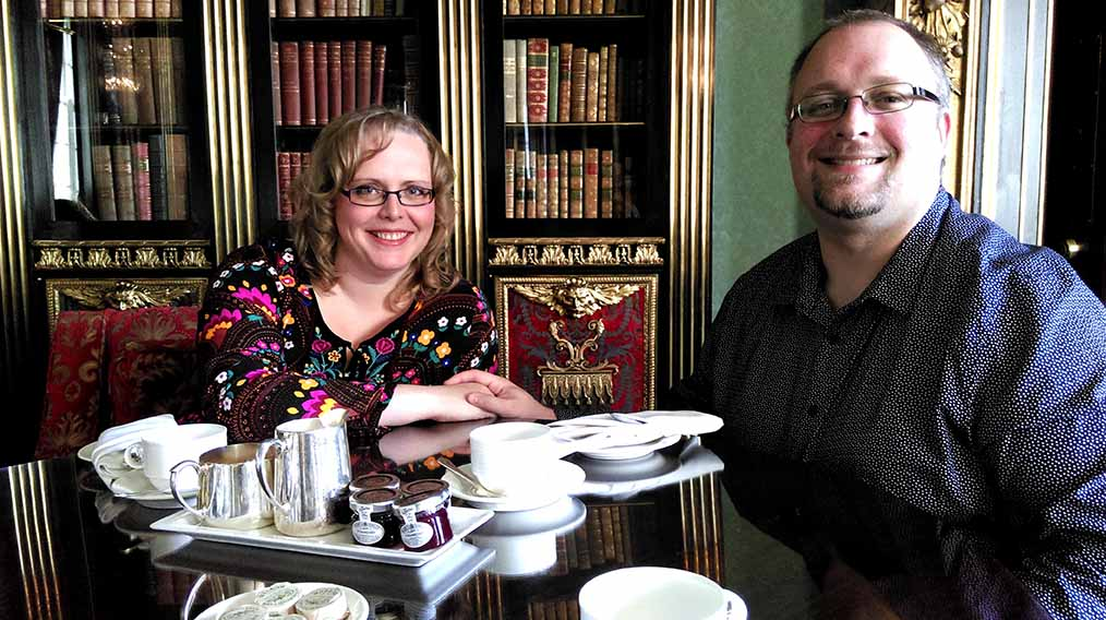 Sat down for Afternoon Tea with my husband at Wynyard Hall, County Durham; from a travel blog by www.traveljunkiegirl.com