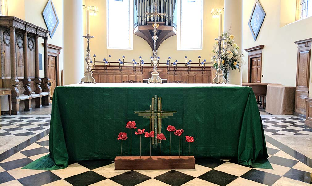 The poppies made it into Derby Cathedral, England; from a travel blog by www.traveljunkiegirl.com