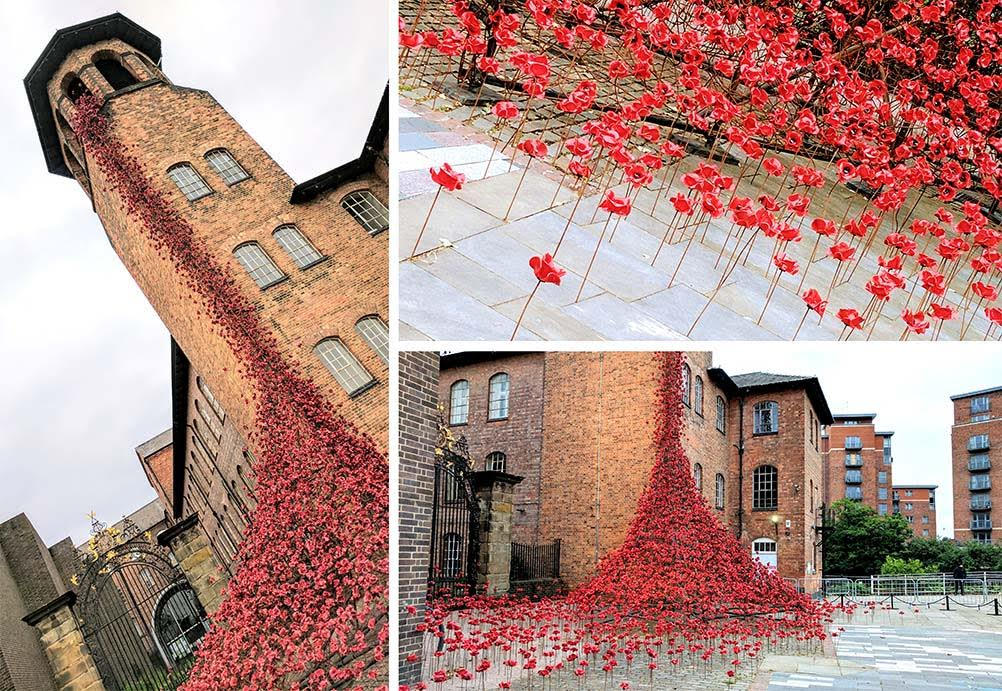 Derby Silk Mill Weeping Window of Poppies, part of the 14-18 NOW Project; from a cultural travel blog by www.traveljunkiegirl.com