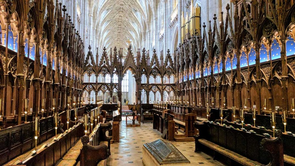 Interior of Winchester Cathedral, Hampshire; from a cultural travel blog by www.traveljunkiegirl.com