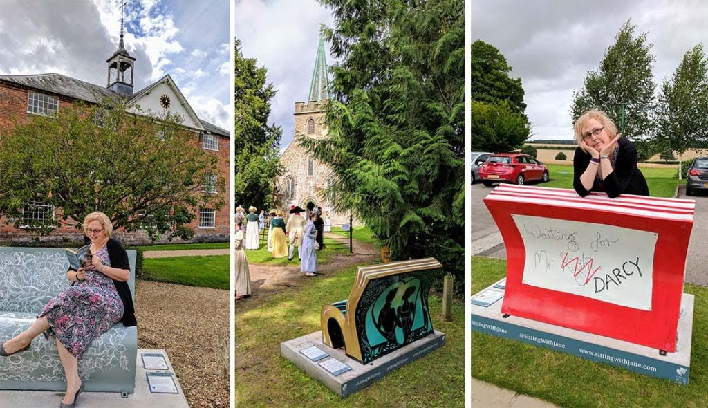 'Sitting With Jane' Book Benches at locations near to Basingstoke, Hampshire, England; from a cultural travel blog by www.traveljunkiegirl.com