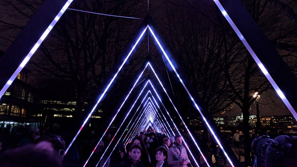 London Lumiere Installation on the South Bank from 2018; from a cultural travel blog by www.traveljunkiegirl.com