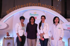 Actors and popular mommies Mandira Bedi and Tara Sharma along with experts Ajita Seethephalli and Dr. Wei Sing Long at the special preview of Pampers Premium Care Pants