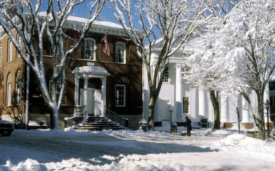 Snow Covered Pacific National Bank, Main Street, Nantucket