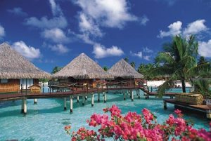 Photo of overwater bungalows on Bora Bora.