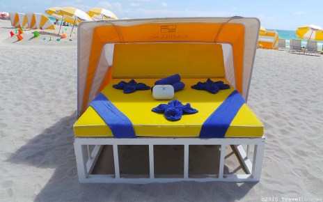 Photo: Courtyard Cadillac Hotel beach cabana and accessories.