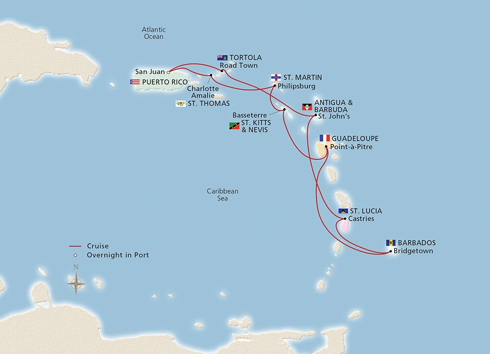 Map: West Indies Explorer, Viking Ocean Cruises