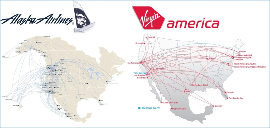 Route Maps of Alaska Airlines and Virgin American