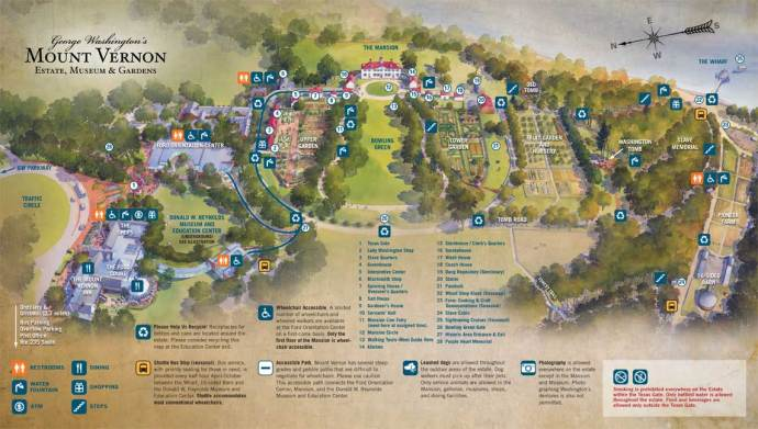 Mount Vernon Visitor's Map - Touring Mount Vernon via @TravelLatte.net