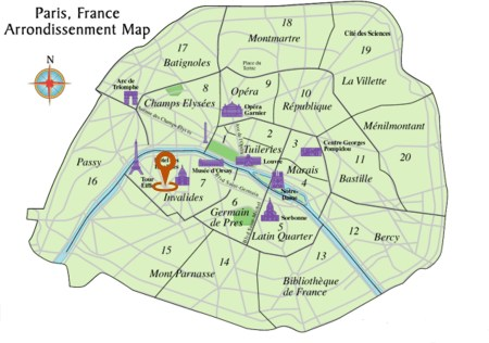 Map of Paris Arrondissenment & Hotel la Comtesse via @TravelLatte.net