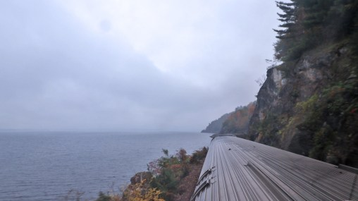 The Amtrak Adirondack skirts Lake Champlain and the rugged Adirondack Mountains, by TravelLatte.