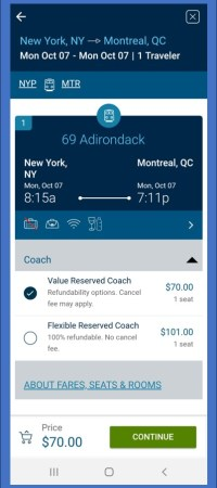 Amtrak smartphone app screenshot - Riding the Amtrak Adirondack - TravelLatte