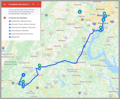 A Map of the Presidents Day Road Trip on TravelLatte
