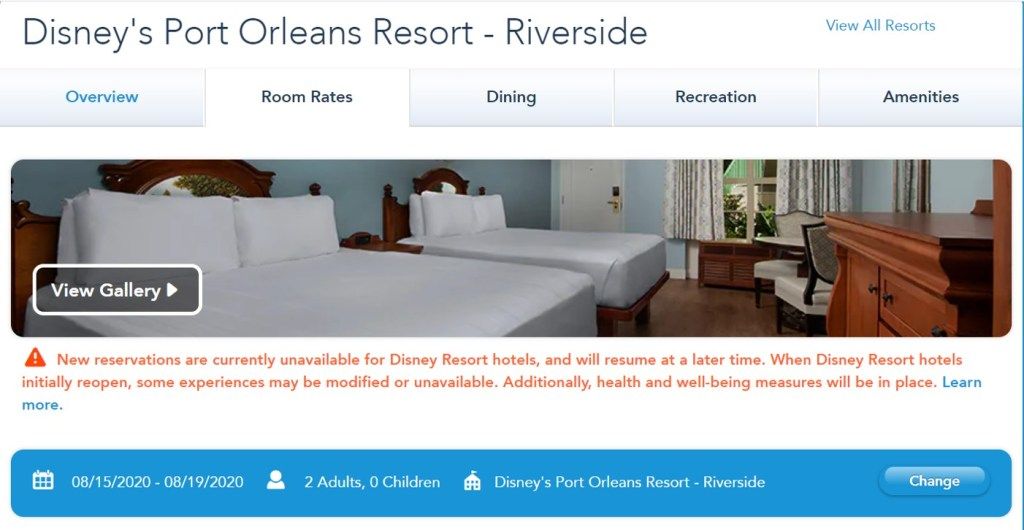 Disney World Reopening - Port Orleans Resort Reservation - TravelLatte