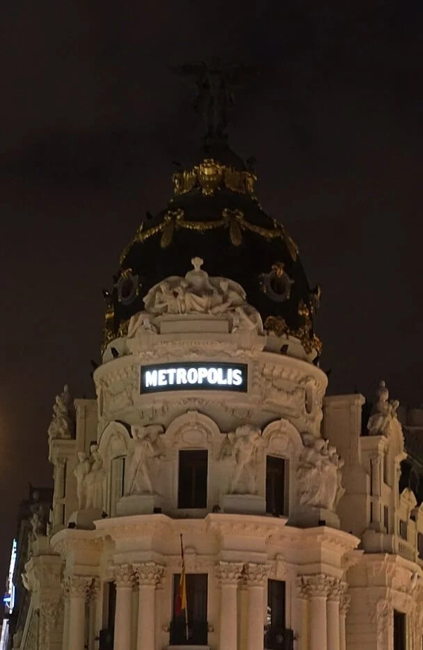 Madrid photography of Metropolis Building at Night