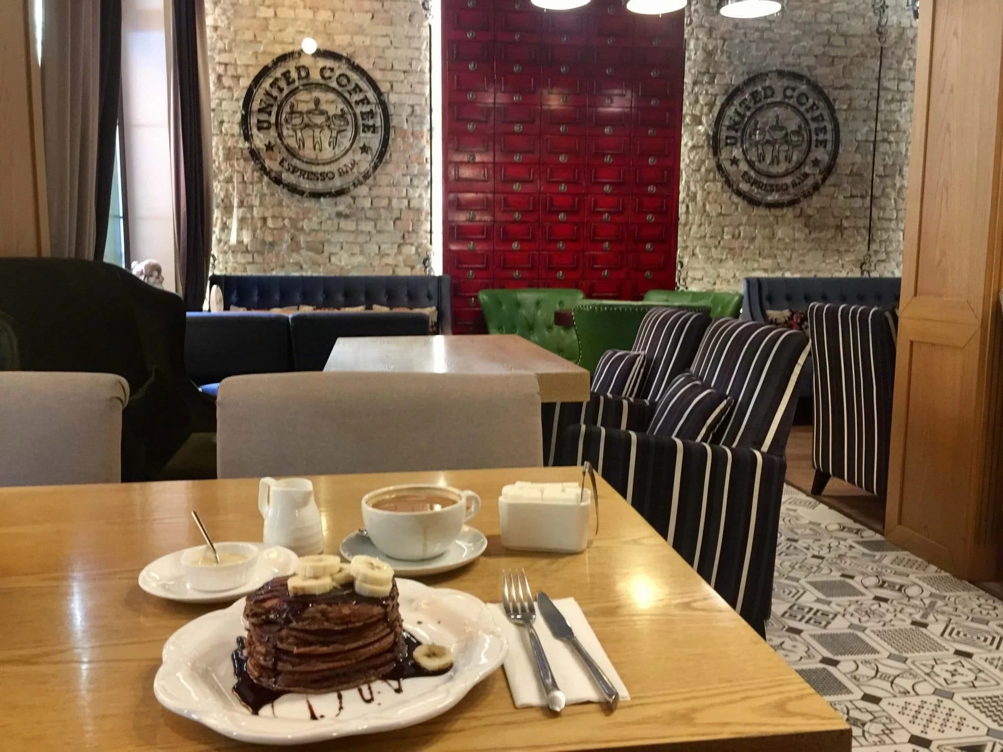 Pancakes at United Coffee, one of the best Almaty Cafes