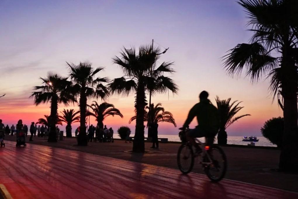 Batumi's boardwalk at sunset