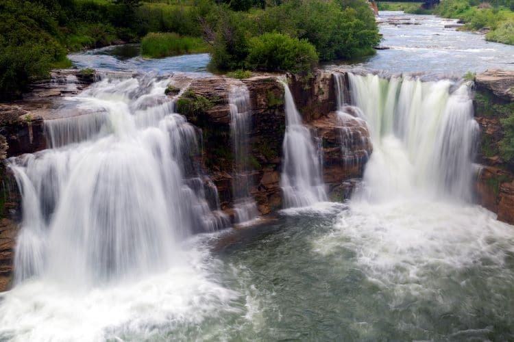 Water flows at Lundbreck Falls in Alberta, Canada along the Cowboy Trail.