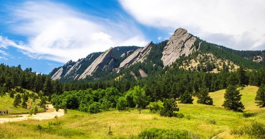 View of the Flatirons in Green Mountain West