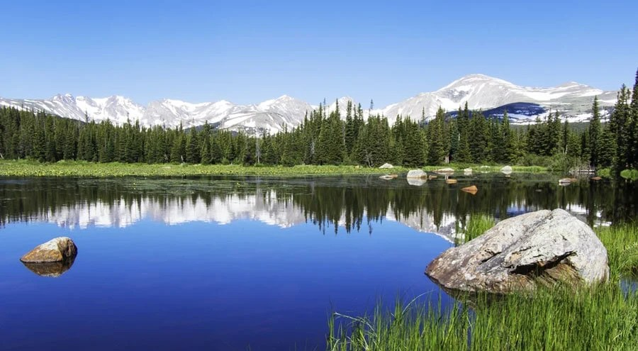 View of the reflection of Isabelle Glacier Trail in Brainard Lake
