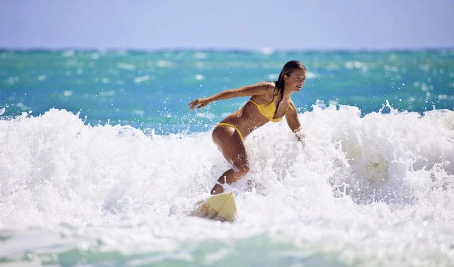 View of a female surfer in Jupiter Beach Park