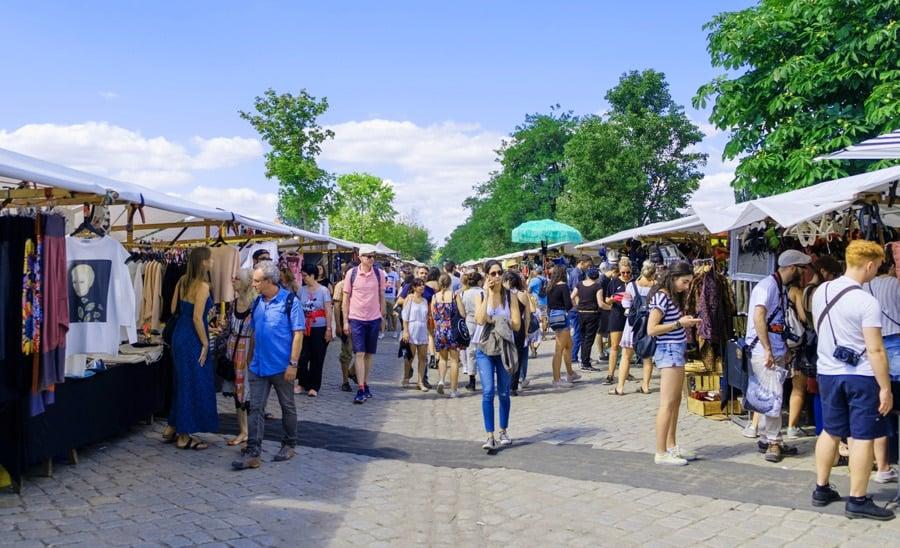 View of crowded people at Kobey's Swap Meet