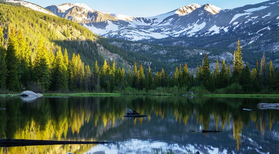 View of a reflection of a mountain in Lost lake