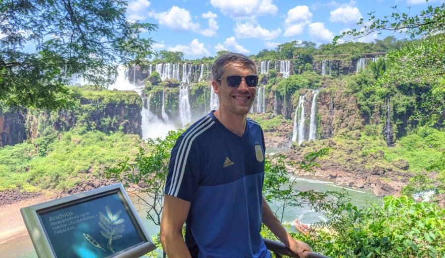 The author traveling in Iguazu Falls
