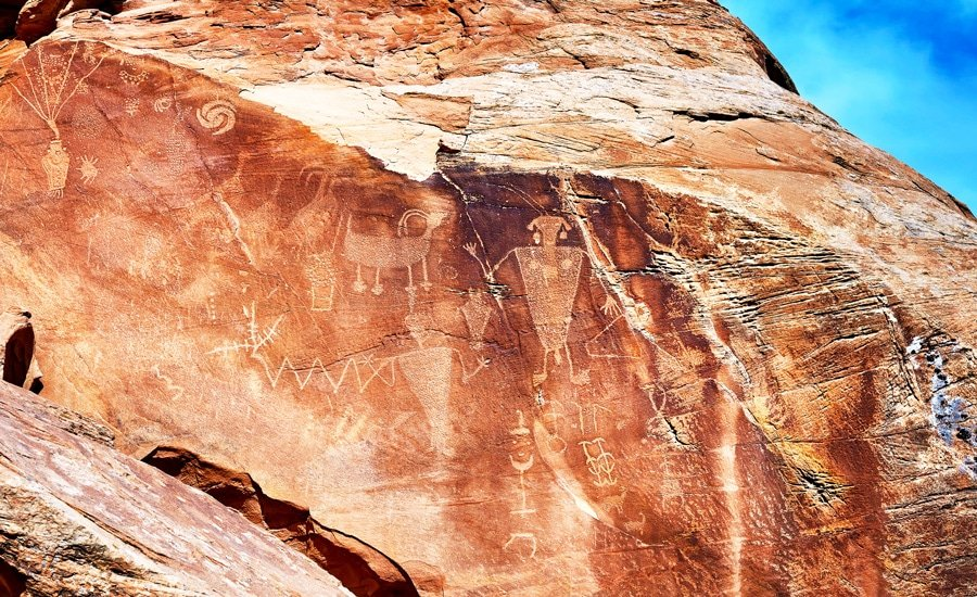 View of petroglyphs on a rock wall