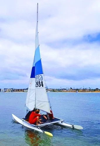 View of a group of people sailing in San Diego Bay