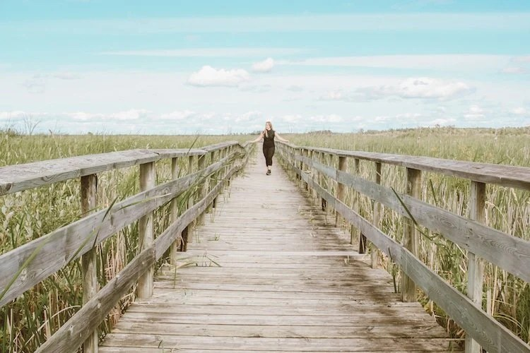 Taylor stands on a boardwalk among tall grass in Grassy Marsh, Hecla-Grindstone Provincial Park, Canada