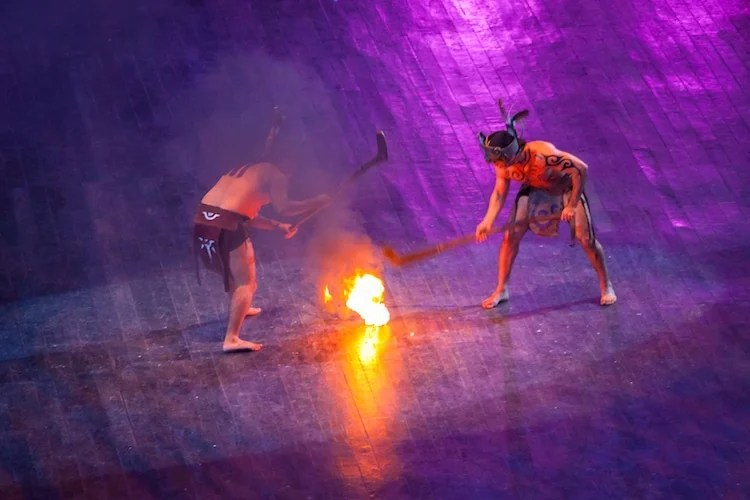 Mayan fire ball game performance in Xcaret park of Yucatan, Mexico