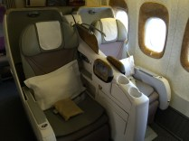 Details of business class seat
