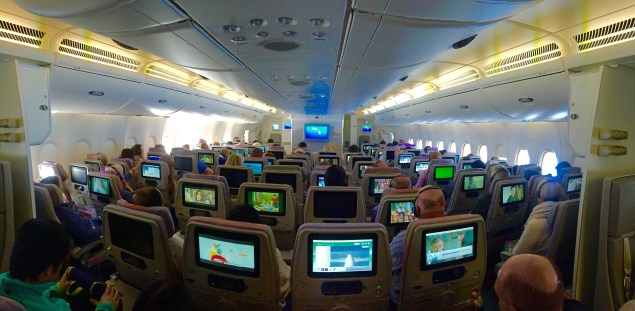 """Pano"" of the front cabin viewed from row 51"