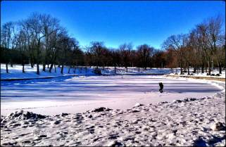 lake, parc Lafontaine, Lafontaine Park, Montreal, outdoors, winter