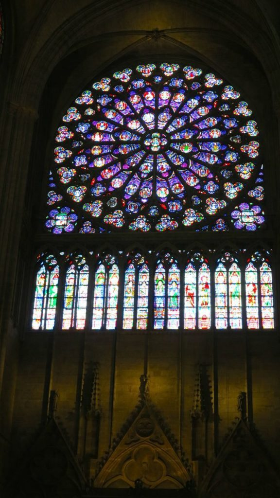 Inside Notre Dame, the famous stain glassed window