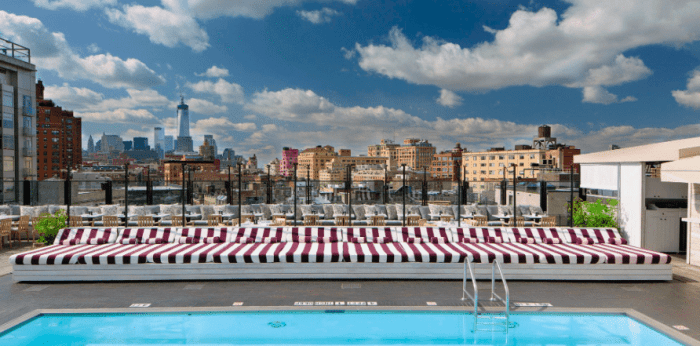 Pool roof top bar at Soho House New York