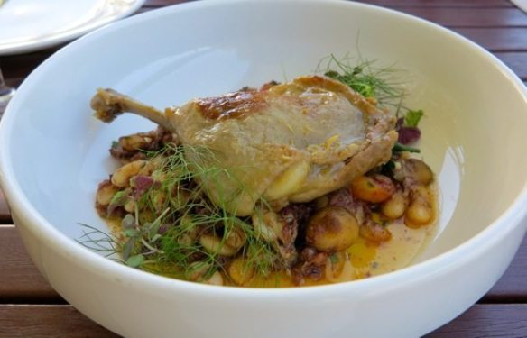 Poached duck leg, white bean and black pudding braise