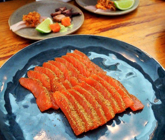 Encrusted salmon sashimi at Leeuwen Esate