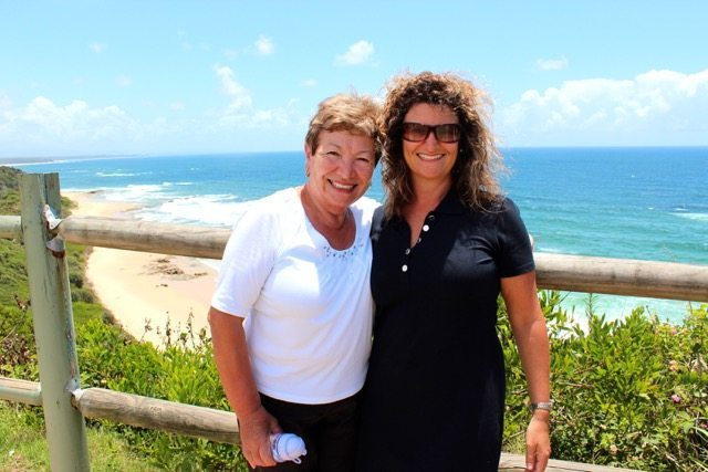 Mum and I on the Coffs Coast, not far from where they now live
