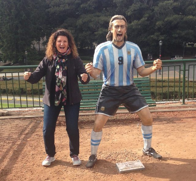 Me in my soft shell jacket and favourite scarf, posing next to a statue Gabriel Batistuta, a famous Argentinean soccer player, in Buenos Aires