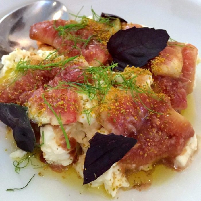 Figs with goat's cheese and dill