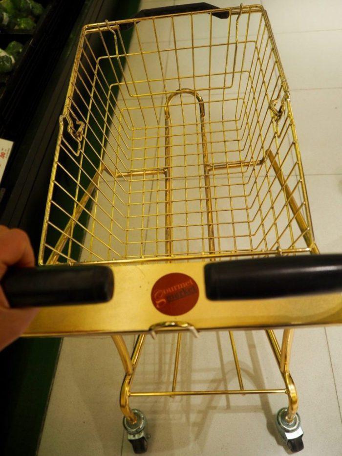 Gold shopping trolley Bangkok