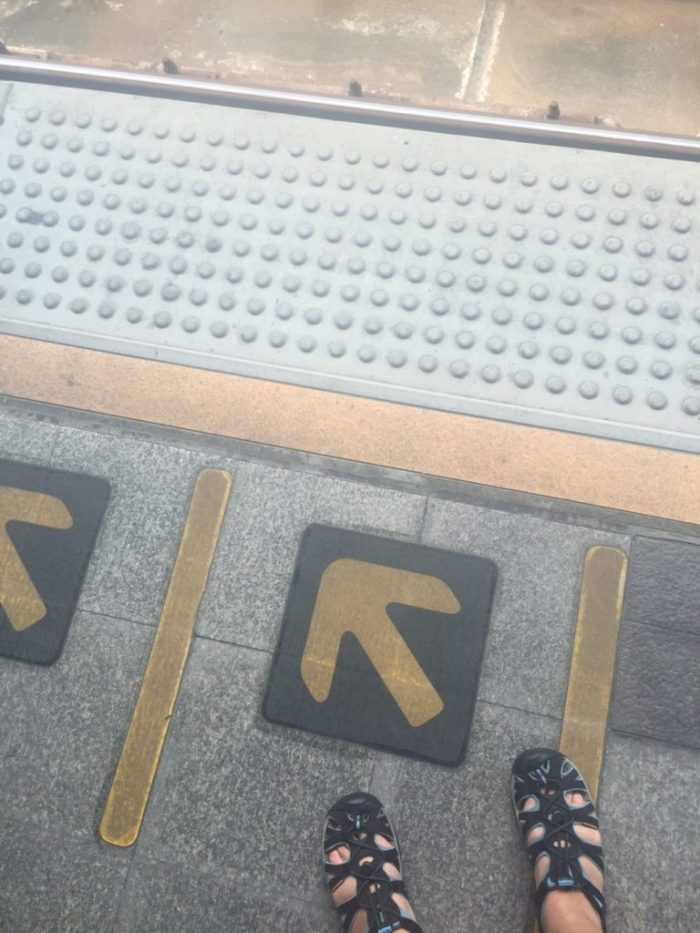 Where to stand and wait for the arriving train